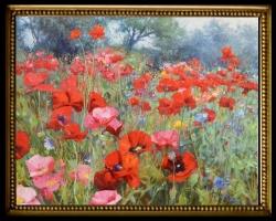 Tablou cu flori de maci, , Tablou cu tema abstracta, tablou cu camp de maci, tablou sufragerie, tablou dimensiune mare, tablou cu flori
