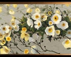 Tablou cu flori de maci albi, , Tablou cu tema abstracta, tablou inmpresionist, tablou sufragerie, tablou dimensiune mare, tablou cu flori de camp