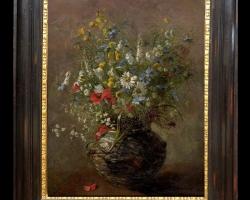 Tablou cu flori de maci rosii in vaza, tablou cu aranjament floral cu flori de mac, Tablou floral, aranjamente  florale pentru ocazii deosebite