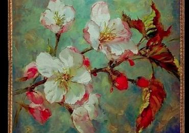 Tablou cu flori de mar, Tablou cu tema abstracta, tablou inmpresionist, tablou sufragerie, tablou dimensiune mare, tablou cu ramuri de flori