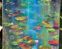 Tablou cu flori de nufar pe lac, natura moarta, tablou pictat manual in ulei pe panz