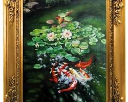 Tablou cu flori de nufar si pesti coy natura moarta, tablou pictat manual in ulei pe panz