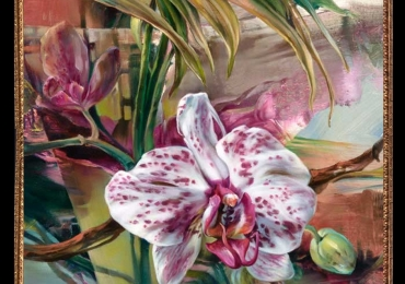Tablou cu flori de orhidee alb cu mov, Tablou abstract, tablou modern, tablou decorativ tablou sufragerie, tablou dimensiune mare, tablou cu flori