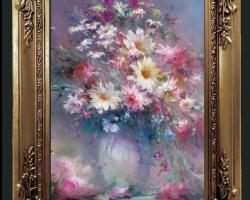 Tablou cu flori de sanziene de munte, tablou cu flori de munte, tablou cu margarete albe, Tablou floral, aranjamente  florale pentru ocazii deosebite