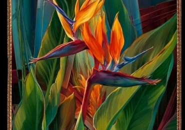 Tablou cu flori de strelitia, Tablou abstract, tablou modern, tablou decorativ, tablou sufragerie, tablou dimensiune mare, tablouri cu flori