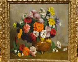 Tablou cu flori de toamna, tablou cu flori multicolore in vas de lut natura moarta, tablou pictat m