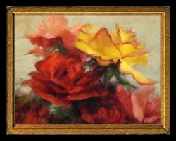 Tablou cu flori de trandafiri, Tablou cu tema abstracta, tablou inmpresionist, tablou sufragerie, tablou dimensiune mare, tablou trandafiri