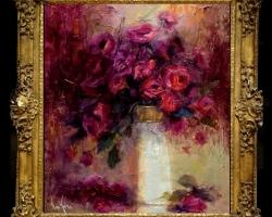 Tablou cu flori de trandafiri, tablou pictat in cutit, Tablou floral, aranjamente  florale pentru ocazii deosebite