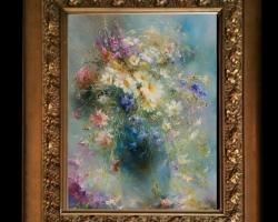 Tablou cu flori delicate, tablou cu flori diafane, tablou cu buchet de flori, Tablou floral, aranjamente  florale pentru ocazii deosebite