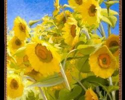 Tablou cu flori galbene, Tablou cu tema abstracta, tablou inmpresionist, tablou sufragerie, tablou dimensiune mare, tablou cu floarea soarelui