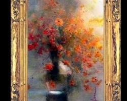 Tablou cu flori galbene delicate de Piciorul cocoșului de munte si maci rosii, tablou cu flori diafane, tablou cu buchet de flori