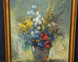 Tablou cu flori in vas natura moarta, tablou pictat manual in ulei pe panz