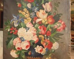 Tablou cu flori in vaza, natura moarta, tablou pictat manual in ulei pe panz