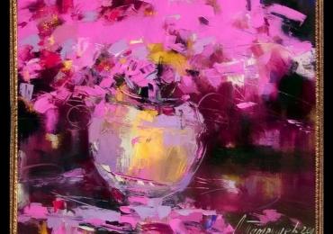 Tablou cu flori mov, Tablou cu tema abstracta, tablou inmpresionist, tablou sufragerie, tablou dimensiune mare, tablou cu flori in vaza