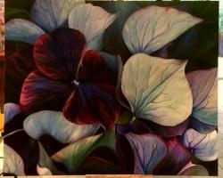 Tablou cu flori mov, tablou natura moarta, tablou pictat manual in ulei pe panz