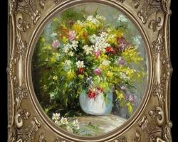 Tablou cu flori multicolore, Tablou pictat cu  buchet de flori asezat pe masa, Tablou floral, aranjamente  florale pentru ocazii deosebite