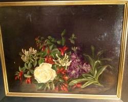 Tablou cu flori natura moarta, tablou pictat manual in ulei pe panz