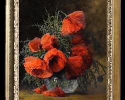 Tablou cu flori pictat manual, Tablou cu flori de maci rosii in vaza, tablou cu aranjament floral cu flori de mac