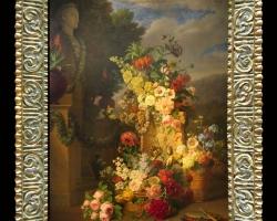 Tablou cu flori pictura Flamanda, Natura moarta cu statuie si flori multicolore, tablou cu peisaj floral