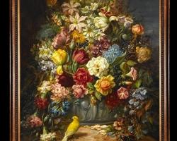Tablou cu flori pictura Flamanda, Tablou cu buchet de flori si canar galben, Tablou floral, aranjamente  florale pentru ocazii deosebite