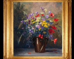 Tablou cu flori pictura Flamanda, tablou cu flori de gentiana, tablou cu flori Piciorul cocoșului de munte, tablou cu maci, pictura cu flori de munte