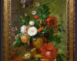 Tablou cu flori pictura Flamanda, tablou cu flori in vaza si cui de pasarele cu oua., Tablou floral, aranjamente  florale pentru ocazii deosebite