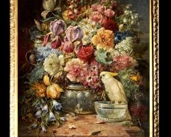 Tablou cu flori pictura Flamanda, tablou cu flori si papagal alb cu creasta galbena, Tablou floral, aranjamente  florale pentru ocazii deosebite