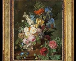 Tablou cu flori pictura flamanda, tablou buchet de flori cu maci salbatici si flori multicolore, Tablou floral, aranjamente  florale pentru ocazii deosebite
