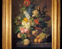 Tablou cu flori pictura flamanda, tablou cu flori, tablou cu trandafiri, maci salbatici fructe lalele, Tablou floral, aranjamente  florale