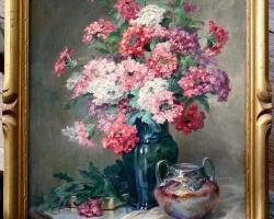 Tablou cu flori roz natura moarta, tablou pictat manual in ulei pe panz