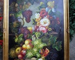Tablou cu flori si fructe, natura moarta, tablou pictat manual in ulei pe panz