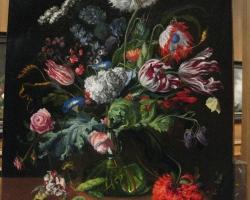 Tablou cu flori stil flamand, natura moarta, tablou pictat manual in ulei pe panz