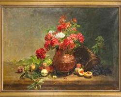Tablou cu flori, tablou muscate in vas de lut, Clara von Sivers