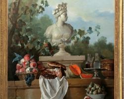 Tablou cu flori, tablouri cu natura moarta Nature morte au buste de l'Amérique, Jean-Baptiste Oudry, 1722