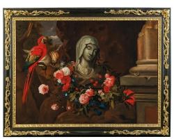 Tablou cu flori,, tablouri cu natura moarta, tablou cu papagal Jacob Marrell