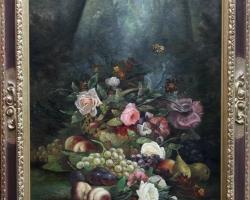 Tablou cu fructe si flori natura moarta, tablou pictat manual in ulei pe panz
