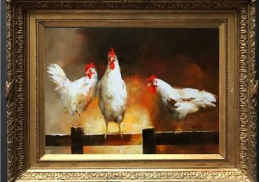 Tablou cu gaini pe gard, tablou cu animale salbatice, tablouri cu animale pictate, tabl