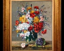 Tablou cu garoafe si garofite multicolore, Tablou pictat cu  buchet de flori asezat pe masa, Tablou floral, aranjamente  florale