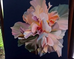 Tablou cu garofita alba inflorita, natura moarta, tablou pictat manual in ulei pe panz