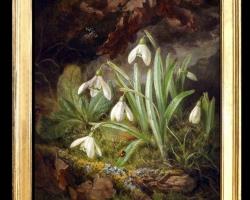 Tablou cu ghiocei pictati, tablou cu floricele albe, tablou floral, Tablou floral, aranjamente  florale pentru ocazii deosebite