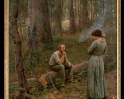 Tablou cu indragostiti in padure, tablou cu peisaj de toamna, tablou cu oameni in padure Frederick McCubbin