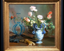 Tablou cu lalele si garofite in vas ceramic pictat, Tablou pictat cu  buchet de flori asezat pe masa, Tablou floral, aranjamente  florale