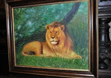 Tablou cu leu intr-un peisaj de vara, tablou cu animale salbatice, tablouri cu animale