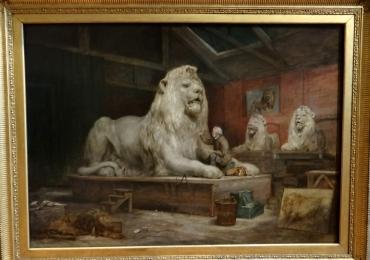 Tablou cu leu sculptat in piatra, tablou cu animale salbatice, tablouri cu animale picta