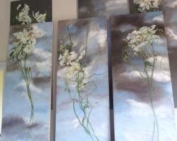 Tablou cu lfori albe delicate, tablou pictat manual in ulei pe panz