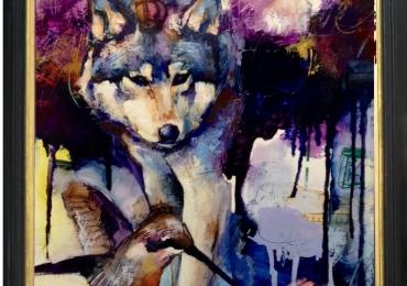 Tablou cu lup, tablou abstract modern, tablou cu animale salbatice, tablouri cu anima