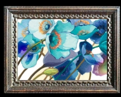 Tablou cu maci, Tablou cu tema abstracta, tablou inmpresionist, tablou sufragerie, tablou dimensiune mare, tablou cu flori ablastre si turcoaz