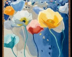 Tablou cu maci, Tablou cu tema abstracta, tablou inmpresionist, tablou sufragerie, tablou dimensiune mare, tablou cu flori abstracte