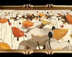 Tablou cu maci Tablou cu tema abstracta, tablou inmpresionist, tablou sufragerie, tablou dimensiune mare, tablou cu flori abstracte