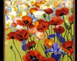 Tablou cu maci Tablou cu tema abstracta, tablou inmpresionist, tablou sufragerie, tablou dimensiune mare, tablou cu flori multicolore